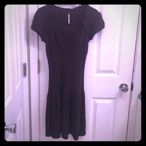 Free People Charcoal Gray Cap Sleeve Mini Dress
